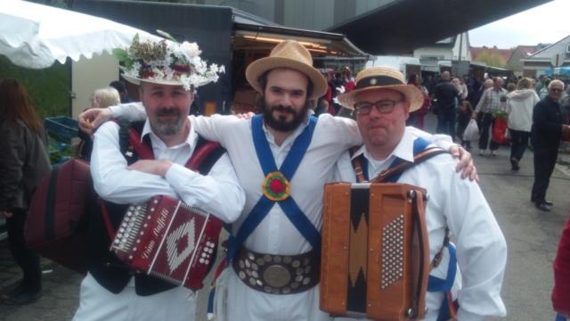 Jockey Dancing at a Belgian Market - Phil with Musicians - May 2016