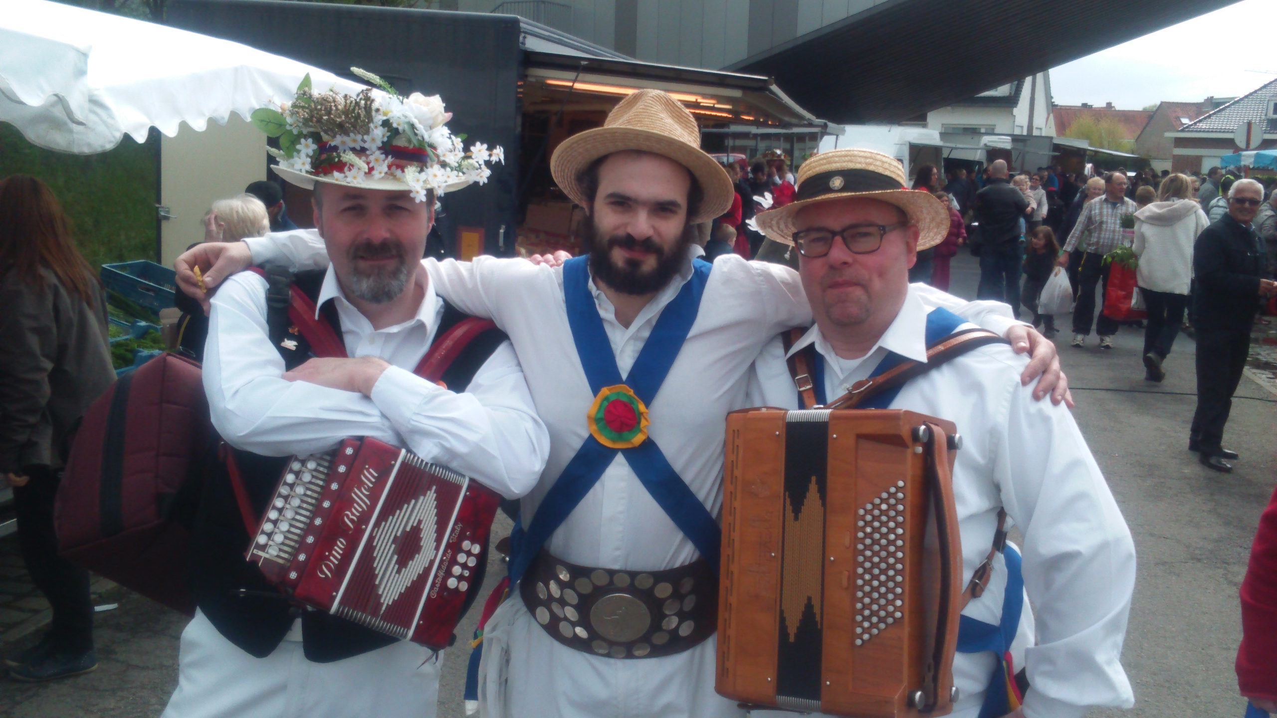 Jockey Dancing at a Belgian Market - Phil with Musicians - May 2016