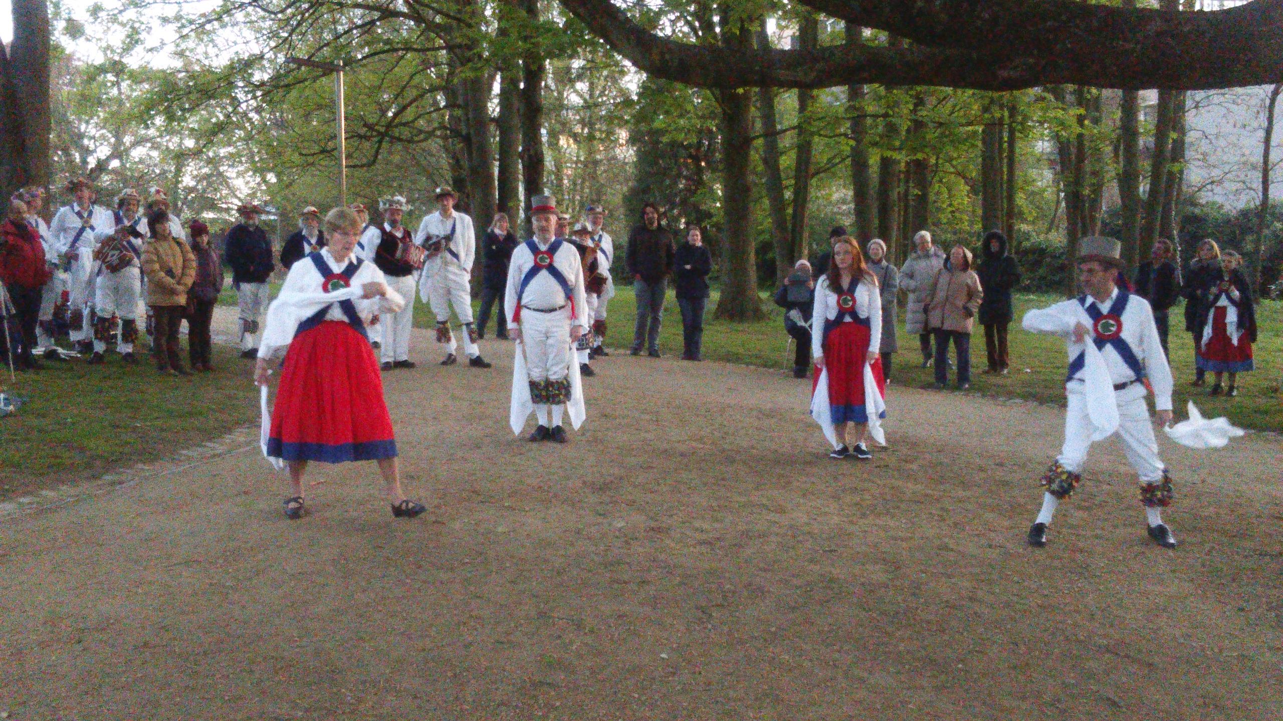 Jockey and Green Horse Morris dancing at Dawn in Anderlect, Brussels - May 2016