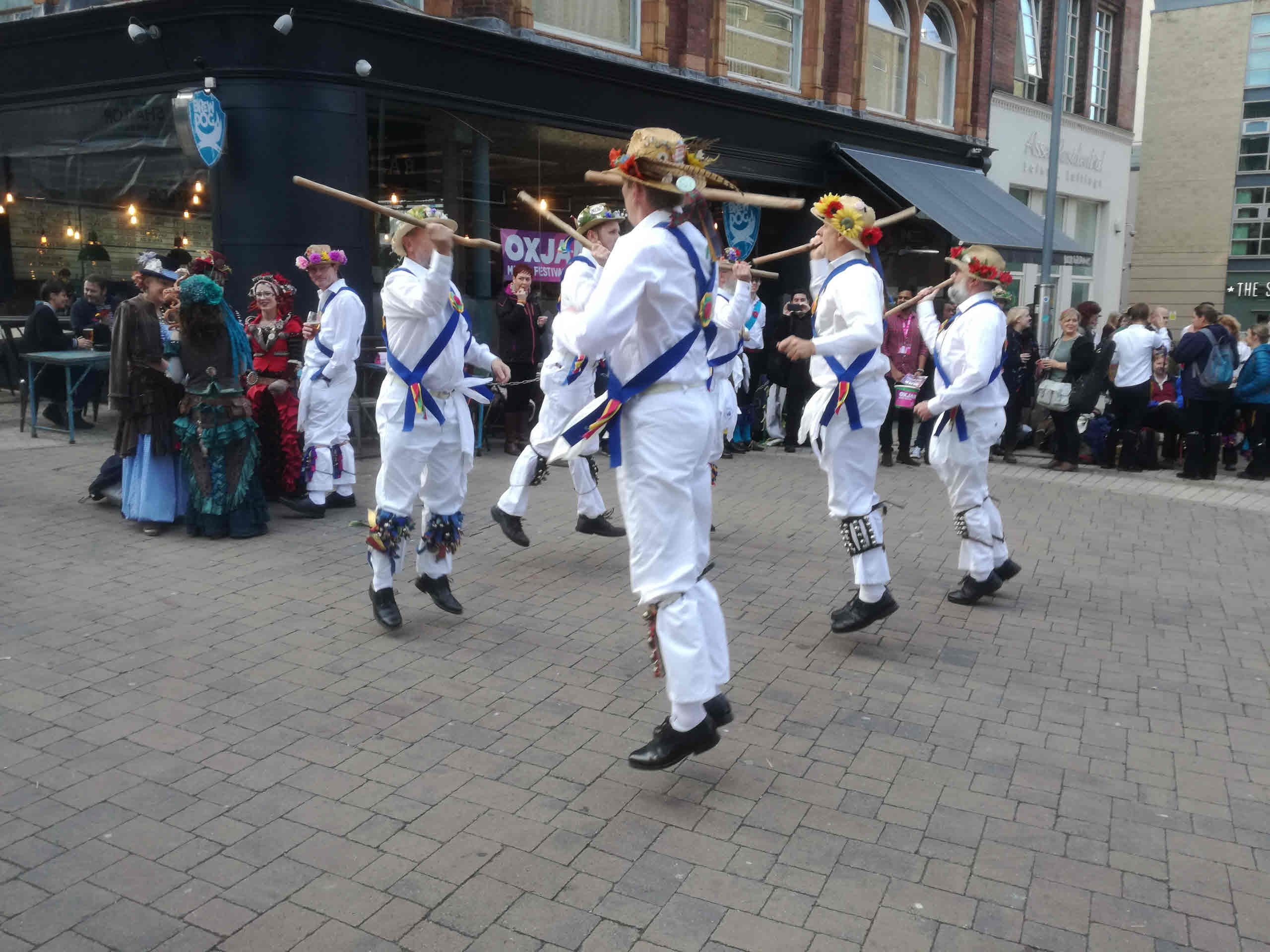 Jockey Dancing on John Bright Street with one of our guest teams Belly Fusion in the background