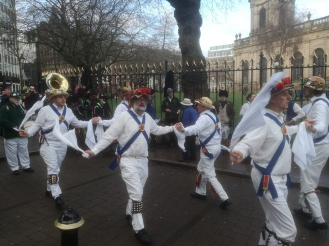 Dancing on a Cold Day by St. Philip's Cathedral, Birmingham City Centre