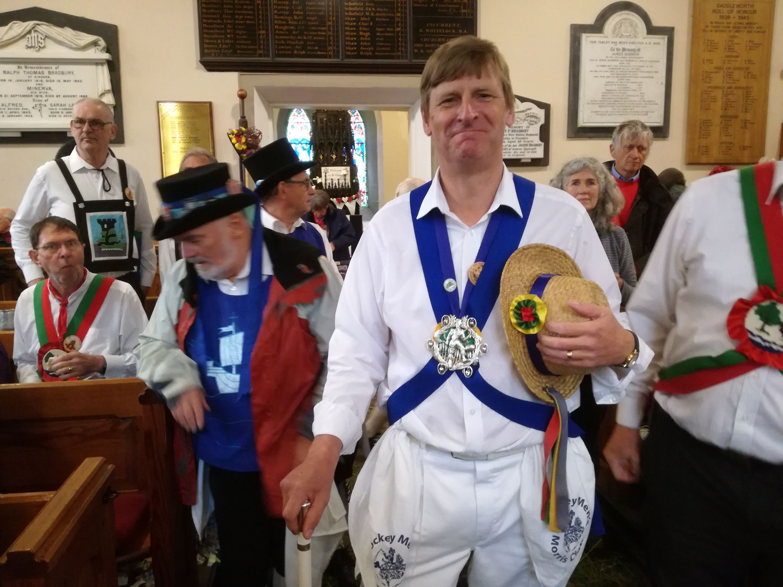 Pete Dances in as Squire of The Morris Ring - Saddleworth - 26th August 2018