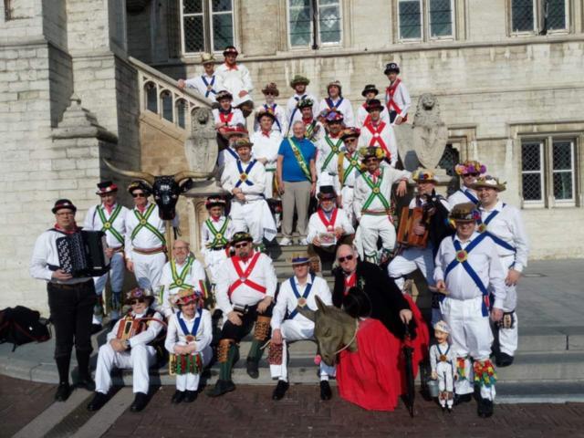 Jockey with The Abingdon Morris Men and members of our host team - Boerke Naas