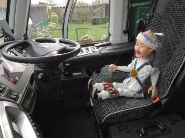 Little Pete gets to grip with Driving on the Right Hand Side of the road