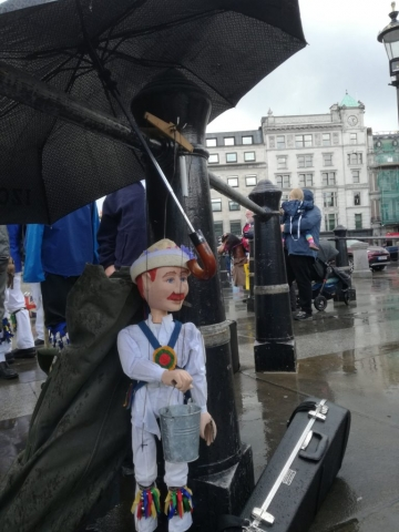Little Pete sheltering from the rain on the Westminster Day of Dance 2019